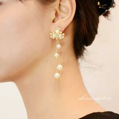Pearls earring with long chain ,Gold earrings,Pearl earrings,Long earrings,Fashion jewerly,Wedding jewerly,Christmas gift by shiningstore on Etsy