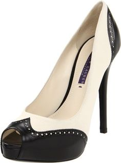 Ralph Lauren Collection Women's Jaina Peep-Toe Pump: Shoes
