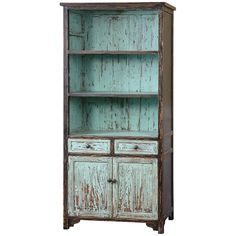 Hand finished and distressed in vibrant, robin's egg blue with black outer edges and overtones chipped away to reveal highlights of the natural, reclaimed fir wood grain. Features: - Collection: Dunix