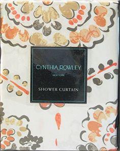 cynthia rowley clover medallion fabric shower curtain in shades of orange peach tan u0026