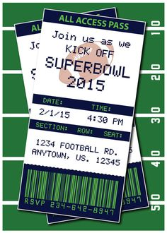 Superbowl Invitation or Thank you card by HeathersCreations11
