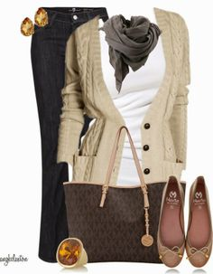 Casual Outfits | Simple Yet Casual  MUSAC tank top, Langer Cardigan, 7 For All Mankind jeans, MARILA TAUPE flat shoes, MICHAEL Michael Kors bag, Bruuns Bazaar Scarf  by angkclaxton