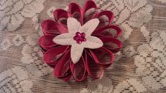 Pink and black flower magnet by GloriaMillerCreation on Etsy, $4.00