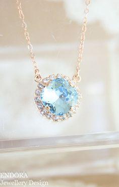 Crystal necklace,Swarovski necklace,wedding necklace,bridal necklace,bridesmaid necklace,aquamarine necklace,rose gold necklace,necklace