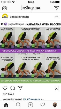 Kakasana with blocks Yoga Crow Pose, Yoga Poses, Namaste Yoga, Yoga Block, Iyengar Yoga, Yoga For Beginners, Body Works, Yoga Fitness, Pilates