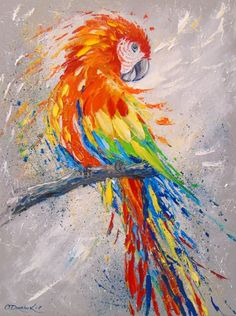 Parrot by Olha Darchuk Bird Paintings On Canvas, Bird Painting Acrylic, Parrot Painting, Lion Painting, Bird Artwork, Animal Paintings, Oil Painting On Canvas, Canvas Art, Oil Paintings