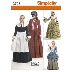 These historically-themed Misses' costume dresses will serve for a prairie settler, Quaker, colonial, or more courtly lady. Simplicity sewing pattern from Andrea Schewe.