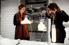 Pia Karlsson and Ellen Niklasson of our Product development team working on Form Pendants designed by Form Us With Love for Design House Stockholm.