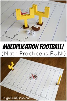 Multiplication Football Game: Make Math Fact Practice Fun! Great way to practice multiplication facts, and there is a link in the post to a math fact baseball game too! Math Resources, Math Activities, Division Activities, Kids Worksheets, Printable Worksheets, Math Fact Practice, Formation Continue, Math Night, Math Multiplication