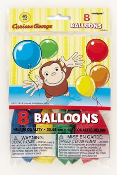 Curious George Printed Balloons Birthday and Theme Party Supplies 8 Per Pack. Curious George Party, Curious George Birthday, Birthday Supplies, Party Supplies, Lincoln Birthday, Balloons And More, Cartoon Toys, Printed Balloons, Latex Balloons