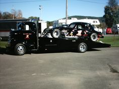 Sweet Cab Over Car Hauler with Vintage Stock Car.
