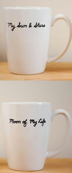 """I WANT THESE MUGS!!!! Khaleesi and her husband Khal Drogo referred to each other as each as these pet names on the show. My husband and I thought it was SO sweet that we started calling each other the names too. My husband danny is """"My Sun and Stars"""" and he calls me """"Moon of my Life"""". <3"""