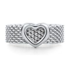 Tiffany and Co. mesh heart ring Authentic Tiffany & Co. Tiffany Und Co, Tiffany And Co Outlet, Tiffany Co Rings, Tiffany & Co., Tiffany And Co Jewelry, Tiffany Atlas, Somerset, Cartier, Schmuck Design
