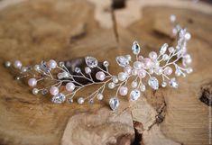 Бело-розовая веточка для прически – купить или заказать в интернет-магазине на Ярмарке Мастеров | Нежный венок-ободок для самой утонченной невесты.