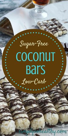 Dark chocolate spills over coconut centers to make these Low Carb Coconut Bars a snack lovers dream! Little keto candy bars with no guilt–what's not to love! Suitable for low-carb, ketogenic, Banting, diabetic and gluten-free diets: Low Carb Sweets, Low Carb Desserts, Low Carb Recipes, Healthy Recipes, Banting Desserts, Healthy Tips, Diabetic Desserts, Sugar Free Desserts, Sugar Free Recipes