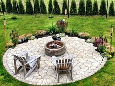 natural stone deck round fire pit design in the garden