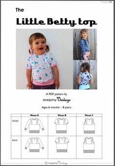 The Little Betty top PDF pattern von sewponyvintage auf Etsy