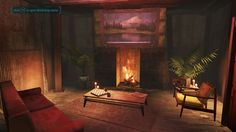 fireplace - wooden cabinets on sides, yellow crates over cabinets, painting across upper gap. Fallout Tips, Fallout 4 Mods, Fallout 3 Locations, Fallout Theme, Fallout 4 Settlement Ideas, Fall Out 4, Wooden Cabinets, Skyrim, Crates