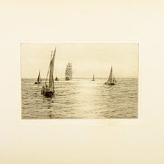 """Rowland Langmaid """"The Silver Solent"""" An early 20th century pencil signed etching by Rowland Langmaid """"The Silver Solent"""". The etching has a pencil signature and the title at the bottom. The etching is held in a thin black frame that has a label on the back """"The Silver Solent"""" Original dry point by Lt Com Rowland Langmaid RN. Edition strictly limited. The etching an frame are in good condition, the slip mount is discoloured at the edges. (Circa 1930) Height 45cm Width 37cm Objet D'art, Drawing Room, Antique Art, Pencil, Label, Carving, Antiques, Drawings, Metal"""