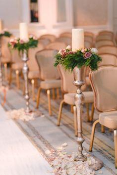 Glam ceremony: http://www.stylemepretty.com/2015/01/19/jason-kennedy-lauren-scruggs-dallas-ballroom-wedding/ | Photography: Lindsey Shea & Kat Harris