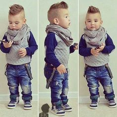 Cute boy love his hair and style