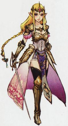 Character design for Zelda from Hyrule Warriors Warrior Queen, Warrior Princess, Zelda Hyrule Warriors, Zelda Tattoo, Princesa Zelda, Character Design Cartoon, Poses References, Game Costumes, Comic Con Cosplay