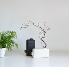 Vase Renversé by Paul Menand Design:  can change orientation of vase by changing plug location //
