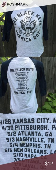 """Black Keys tour baseball tee Cute, classic Black  Keys baseball jersey. Tiny spot on back. Very insignificant but I'm going to hit it with my enzyme and see if I can't dissolve it.  17 1/2"""" p2p. 24"""" long. Tops"""