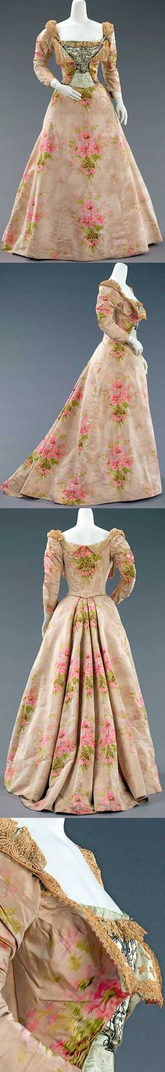 Evening gown, ca. 1897, attributed to Jean-Philippe Worth. Silk and linen.
