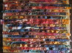 Embroidery Silk Ribbon silk fusion - Randomly arranged cut strips from silk fusion Free Motion Embroidery, Hand Embroidery, Embroidery Patterns, Fabric Artwork, Nuno Felt Scarf, Form Crochet, Paisley Pattern, Paisley Design, Silk Ribbon Embroidery