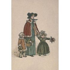 Almanack for 1893 Shopping for Christmas dinner Canvas Art - Kate Greenaway (18 x 24)