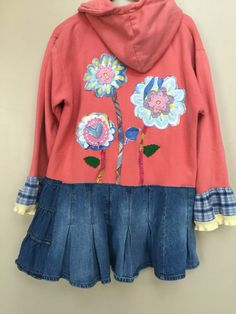 Size Medium Large Upcycled Hoodie / Art to Wear / Funky Tunic