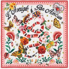 Gucci Garden Exclusive Silk Scarf found on Polyvore featuring accessories, scarves, silk shawl, silk scarves, floral print scarves, floral scarves and gucci shawl