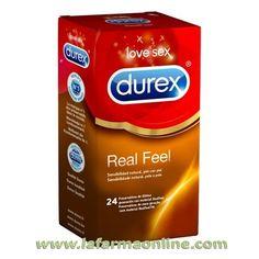 PRESERVATIVOS REALFEEL 24 UNIDADES DUREX  Durex RealFeel son preservativos de última generación fabricados con material sin látex tecnológicamente avanzado para garantizar una sensación contacto natural Piel con Piel.