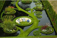 This is pretty cool looking: Dream Garden. Gold medal garden at the Ellerslie Flower Show by Ben Hoyle, Blue Gecko ~ french grassed parterre floating over still black waters - New Zealand Dream Garden, Garden Art, Garden Nook, Corner Garden, Garden Whimsy, Garden Cottage, Garden Spaces, Cottage Chic, Flower Shower