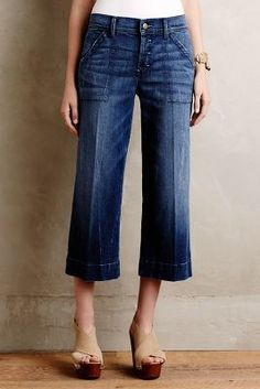 Level 99 Cropped Wide-Legs Evergreen 26 Pants