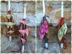Εaster candles with fabric origami butterflies for girls and boats respectively for boys tied with colored ropes and burlap combined with. Colored Rope, Fabric Origami, Boys Ties, Origami Butterfly, Burlap, Candles, Ropes, Easter Ideas, Butterflies