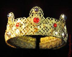 Byzantine D G Crown Headband Swarovski 24 K Gold Red Handmade Tiara Headband | eBay