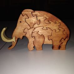 Wooden Wooly Mammoth Puzzle - Handmade - 10 Pieces - Stained