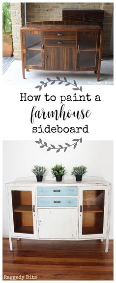 Sharing how to paint a Farmhouse Sideboard using Fusion Mineral Paint, Champlain and Heirloom colors and get a nice distressed look