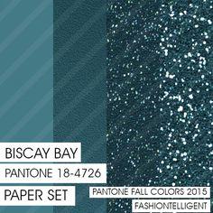 Glitter&Plain PAPER set Biscay Bay PANTONE by Fashiontelligent