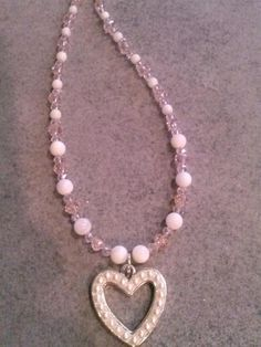 heart pearl necklace. by tinkerbell8228