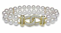 6.5x7mm AAA Quality Japanese Akoya Double Strand Bracelet - 7 inches (Link Clasp) American Pearl. $2450.00
