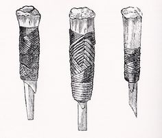 Hafted greenstone chisels