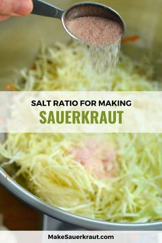 All about salt and sauerkraut. Is your homemade sauerkraut too salty? Did it turn out mushy or slimy? Do you prefer low salt sauerkraut? What is the best salt ratio? Makesauerkraut.com teaches… Easy Sauerkraut Recipe, Making Sauerkraut, Fermented Sauerkraut, Homemade Sauerkraut, Fermented Cabbage, Brine Recipe, Fermented Foods, Fermentation Recipes, Canning Recipes