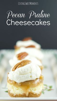 Pecan Praline Mini Cheesecakes - this is the best cheesecake recipe ever! these vanilla cheesecake bites are topped with pecan praline and chantilly cream serve in a cookie crust. My fave dessert! Mini Desserts, Party Desserts, Delicious Desserts, Dessert Recipes, Dessert Ideas, Awesome Desserts, Healthy Desserts, Snack Recipes, Best Cheesecake
