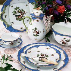 Herend Rothschild Bird Blue Fine China Collection - great for your elegant Holiday dinner and your next Tea Party! http://www.halehboutique.com/herend-rothschild-bird-blue-fine-china-collection.html