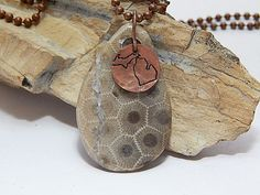 Your place to buy and sell all things handmade Petoskey Stone, Hand Shapes, Ball Chain, Stone Necklace, Michigan, Copper, Stamp, Charmed, Artists