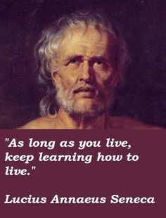 As long as you live, keep learning how to live - Seneca