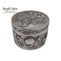 ANTIQUE CHINESE SILVER ROUND BOX, GILT LINED, DRAGONS/CHRYSANTHS SHANGHAI C.1900 Shanghai, Dragons, Antique Silver, Joseph, Exotic, Rings For Men, Chinese, Antiques, Box